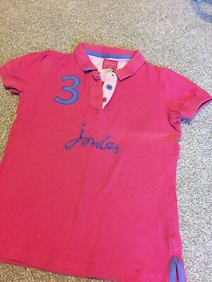 Girls Joules Pink Polo Shirt age 9-10