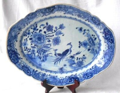 C18Th Chinese Blue And White Serving Dish With Exotic Birds And Flowers
