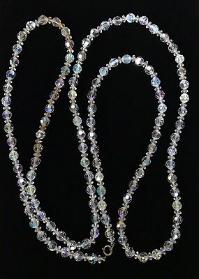 """Vintage AB Faceted Crystal Long Necklace 55"""" M300"""