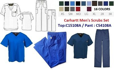 Carhartt Men's Scrubs Set (C54108A Ripstop Multi-Cargo Pant/C15108A V-Neck Top)
