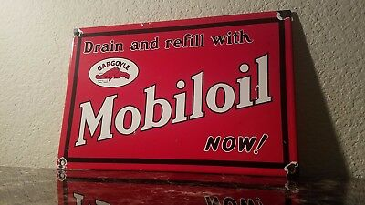Vintage Mobil Gasoline Porcelain Gargoyle Oil Service Station Pump Plate Sign