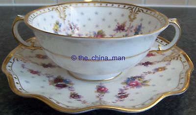 first quality ROYAL CROWN DERBY porcelain ROYAL ANTOINETTE BOUILLON CUP & STAND