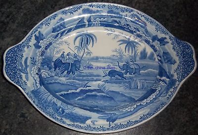 """antique PEARLWARE SPODE INDIAN SPORTING hunting a buffalo 17"""" TUREEN BASE STAND"""