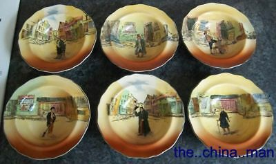 """set of 6 ROYAL DOULTON DICKENS SERIESWARE D5175 6.5"""" RIMMED BOWLS"""