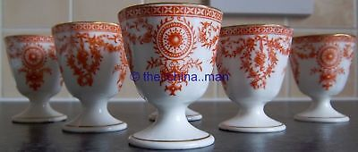 ANTIQUE set of 6 ROYAL CROWN DERBY china EGG CUPS TRUMPET & SWAGS pattern 3720 H
