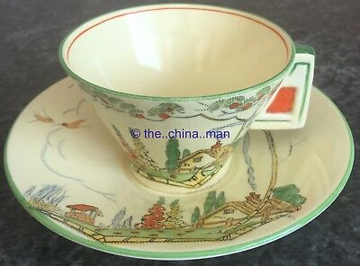 art deco COTTAGE GARDEN & WELL ROYAL WINTON CUP & SAUCER DUO SET norman