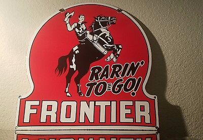 Vintage Frontier Gasoline Porcelain Gas Oil Service Station Pump Plate Sign
