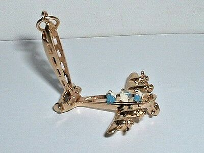 VINTAGE 14k YELLOW GOLD 3D MOVEABLE AIRPLANE PLANE PENDANT TRAVEL CHARM