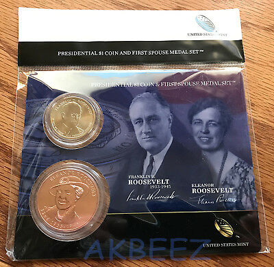 2014 FDR Roosevelt Presidential Coin & First Spouse Medal Set XU4 * FREE SHIP *