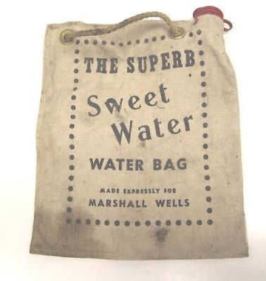 """The Superb Sweet Water"" Vintage Canvas Water Bag, Produced for Marshall Wells"