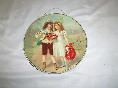 Vintage Victorian Boy And Girl Chimney Flue Cover W/chain