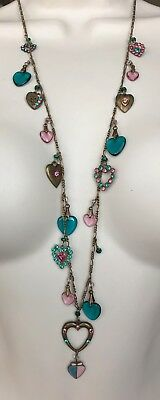 "Vintage Long Multi Color Rhinestone Glass Heart Necklace SIGNED G.W.S 31"" M300"