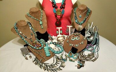 Over 30 pc fashion jewelry in shades of turquoise,blues and greens