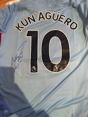 Sergio Kun Aguero Hand Signed MAN CITY Shirt PROOF Authentic COA GENUINE