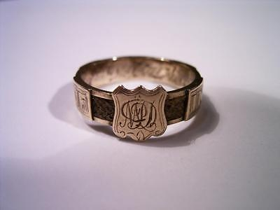 Antique English Georgian Victorian Woven Hair Gold Memorial Ring 'my Dear Mother