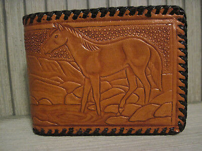 unused Vintage Hand Tooled Genuine Leather Mens Wallet Billfold Horse Mexico