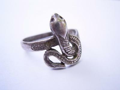 Antique Vintage Silver Snake Ring. Victorian? 6 1/2