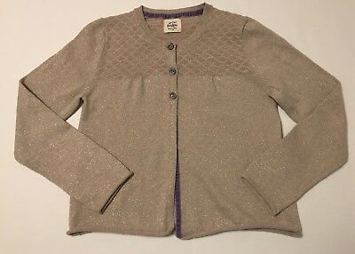 Mini Boden Everyday Gold Sparkle Girls Cardigan Sweater Size 7/8 Cotton/Cashmere