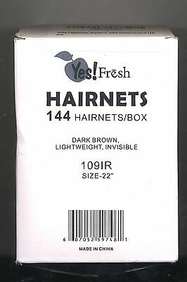 "Yes! Fresh Lightweight Regular 22"" Size Brown Nylon Invisible Hairnet 144 Pcs"