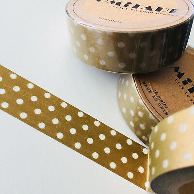 Washi Tape Somi Polka Dots On Gold 15Mm X 10Mtr Scrap Plan Craft Wrap
