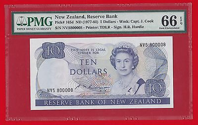 Nd 1985-89 New Zealand, Reserve Bank $10 Radar 800008 Pmg Gem 66 Error Label $5