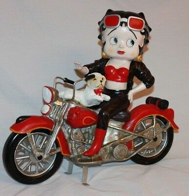 "15"" Tall Betty Boop Motor Cycle Ceramic Figure"