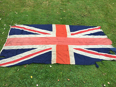 "LARGE ANTIQUE WOOL 11'6"" x 5'6"" c1870 UNION JACK BRITISH NAVY FLAG - RARE"
