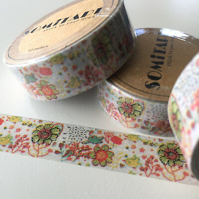 Washi Tape Somi Autumn Floral On Pale Grey 15Mm X 10Mtr Plan Craft Wrap Scrap