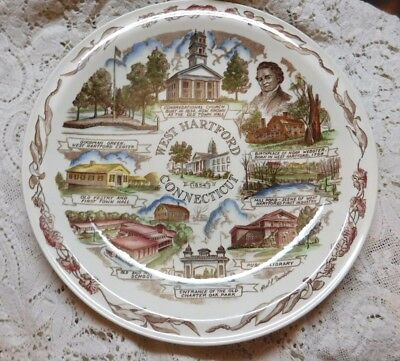 "Vernon Kilns 10.5"" Collectible State Plate West Hartford Ct Connecticut Mint"