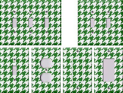 Green and White Houndstooth - Light Switch Covers Home Decor Outlet