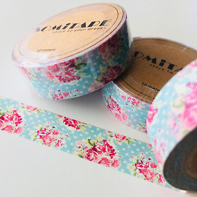 Washi Tape Somi Pink Roses On Blue With Polka Dots 15Mm X 10Mtr Plan Craft Wrap