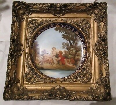 French Lovers Signed J. Boucher Portrait Cabinet Plate in Gilded Frame Sevres?