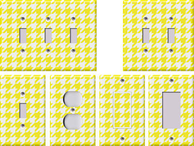 Yellow and White Houndstooth - Light Switch Covers Home Decor Outlet