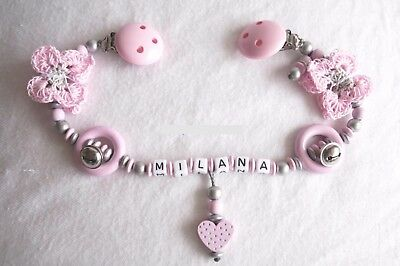 Pram Chain with Name Butterfly Heart Pink Silver Baby Motor Skills