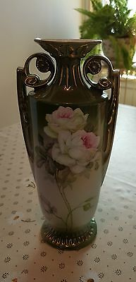 Victoria Austria Vintage Vase  With Hand Painted Roses