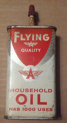 Vintage empty Flying A household tidewater oil company motor tin can oiler
