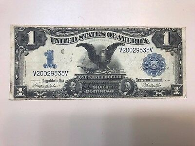 Large 1899 $1 One Dollar Bill Big Silver Certificate Black Eagle Note Currency