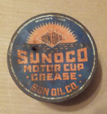 Vintage rare Sun Oils Sunoco Motor Cup CUP GREASE 1 LB. CAN EMPTY