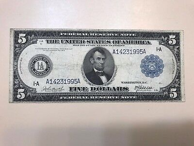 Series 1914 $5 Five Dollar Federal Reserve Note Large Bill Horse Blanket