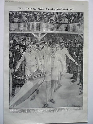""". """" The Cambridge Crew Carrying Out Their Boat."""" 1909 Rare."""