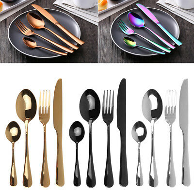 6 8 12 SETS(4Pc/Set) Stainless Steel Cutlery Set Knife Fork Spoon Party Supply