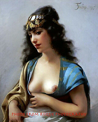 "Nude Woman Eastern Beauty 8.5x11"" Photo Print Bare Bosom Luis Ricardo Falero Art"