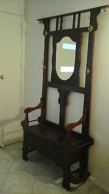 Early 1900 Coat Hat Umbrella Hall Stand With Seat
