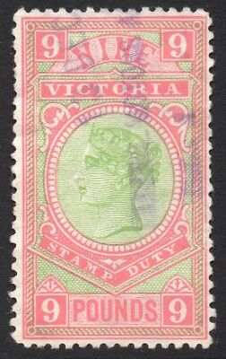 £9 Victorian Stamp Duty Apple Green and Rosine Fine Ficsal Cancel