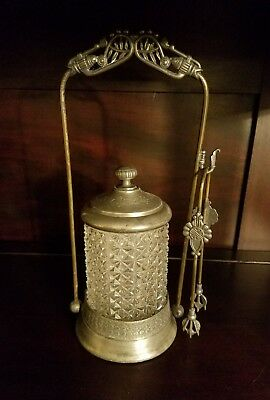 Antique Victorian Silver Plated Pickle Castor with Tongs