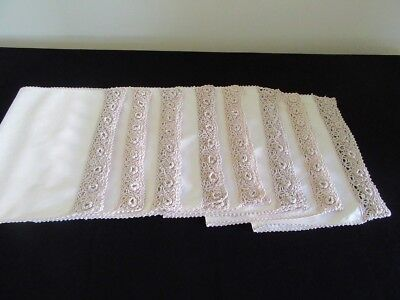 Vintage Hand Made - Crochet Edge - Place Mat / Napkin x 8