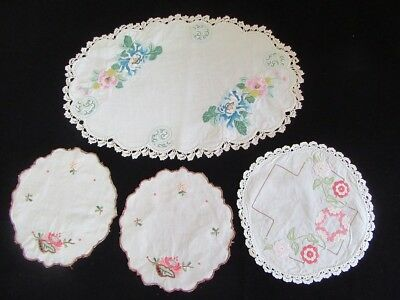 Vintage Hand Embroidered Doilies x 4