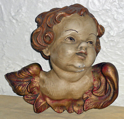 ITALIAN Large Carved VINTAGE Wooden Painted Gilded PUTTO ANGEL CHERUB HEAD Nice!