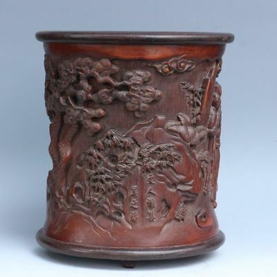 China Exquisite Hand-carved People and landscape patterns bamboo Pen holder