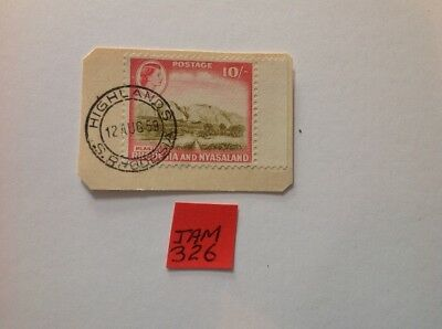 rhodesia and nyasaland 1959 £10/- on piece used fine with good cancel